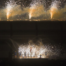 outdoor performers with water & fireworks